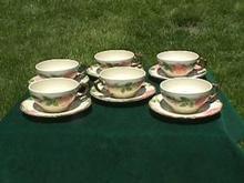 (6) Franciscan Desert Rose Tea Cups & Saucers