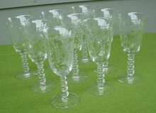 (8) Imperial Candlewick 9 Oz. Floral Etch Goblets
