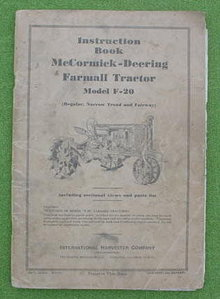 McCormick-Deering F-20 Tractor Manual