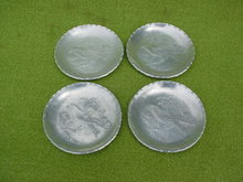 (4) DePonceau Hammered Aluminum Ashtrays w/Box