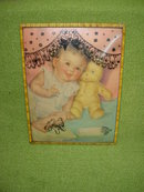 Old Baby w/Teddy Litho in Convex Frame