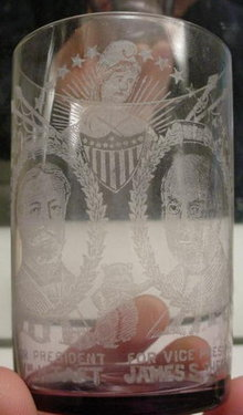1908 Taft & Sherman Political Campaign Glass