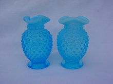 Pair of Blue Fenton Hobnail Vases