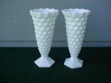Pr. of American Fostoria Milk Glass Bud Vases