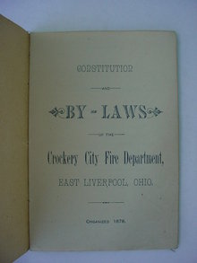 1878 Constitution & By-Laws Crockery City Fire Dept.