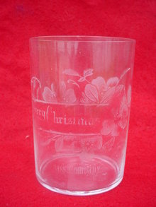 Merry Christmas Fostoria Glass Company Etched Tumbler