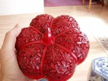 Carved Chinese Lacquer Peony Melon Box