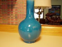 Large Chinese Turquoise Blue Bottle Vase