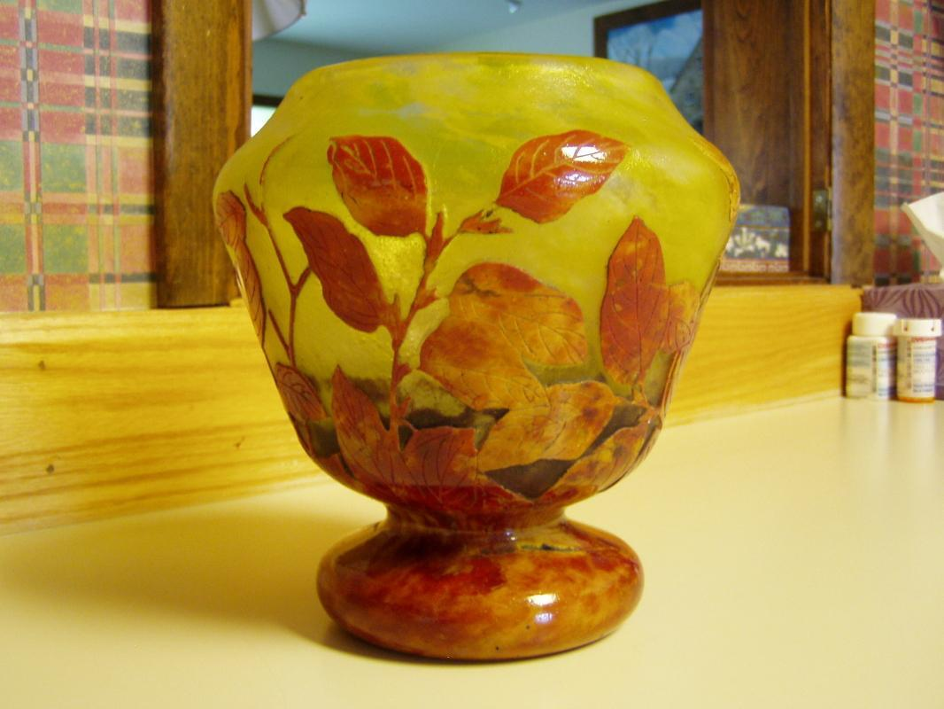 Daum Nancy French Cameo Vase with Autumn Foliage