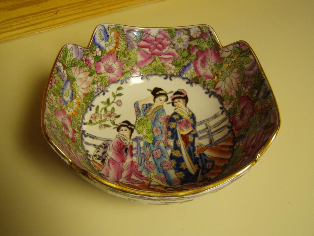Beautiful Geisha Four Square Cut Bowl