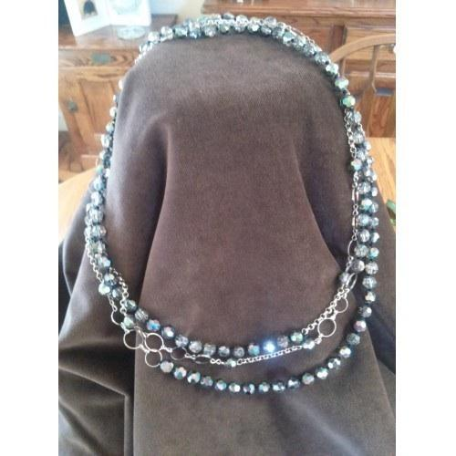 Vintage black and grey crystal beaded necklace