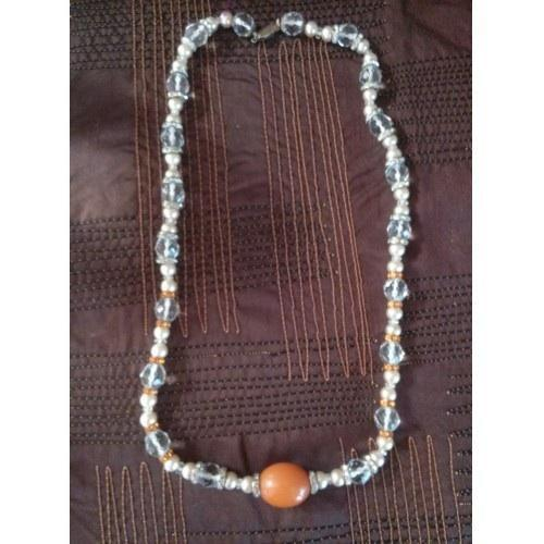 Vintage Crystal Beaded and Bakelite Necklace