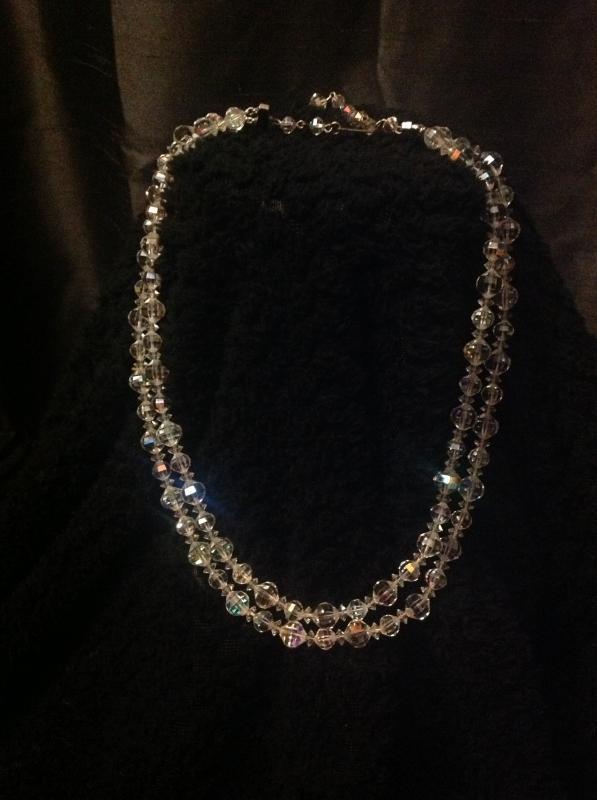 Elegant Double Stranded Crystal Necklace