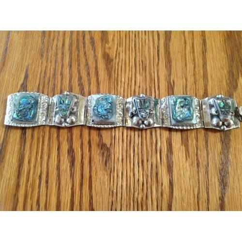 BEAUTIFUL VINTAGE STERLING SILVER AND ABALONE SHELL BRACELET