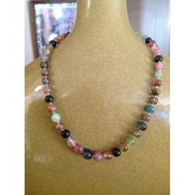 Vintage glass beaded necklace, multi-colored