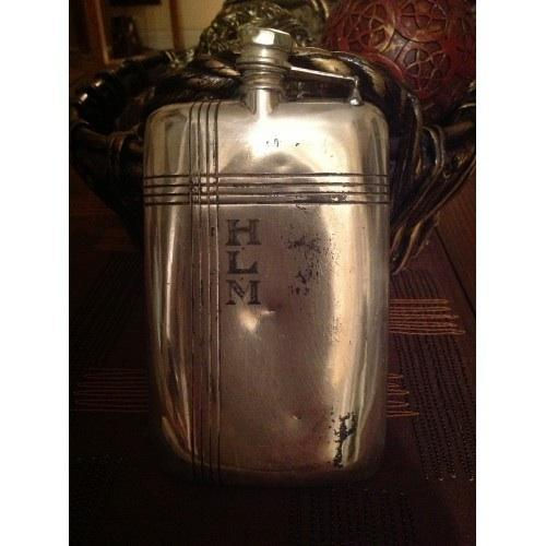 Antique Sterling Silver Flask made by Apollo Silver Co.