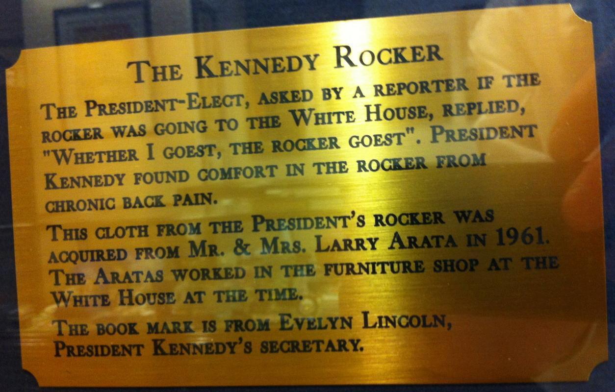 Fabric of JFK's rocking chair
