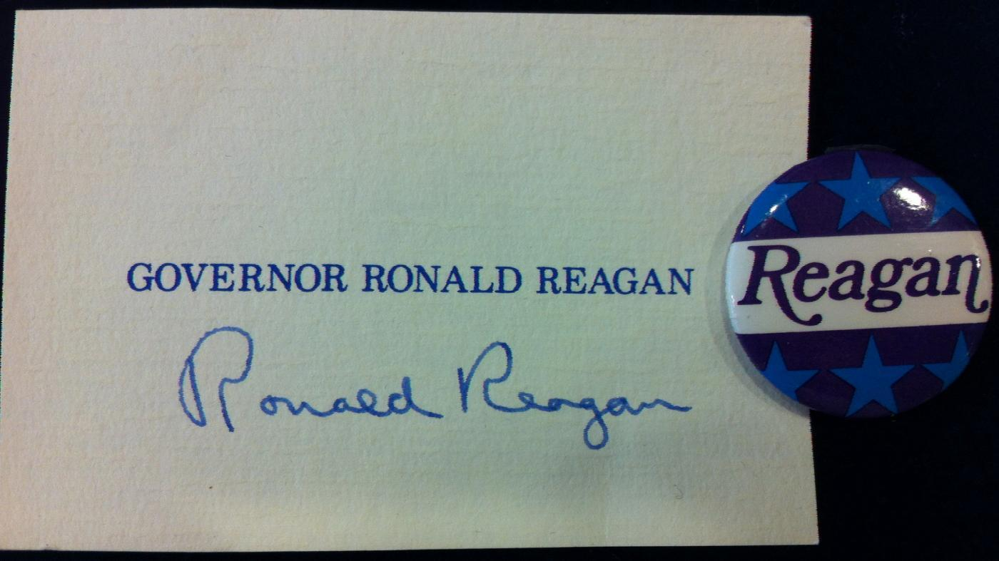 Governor Ronald Reagan Card and Button