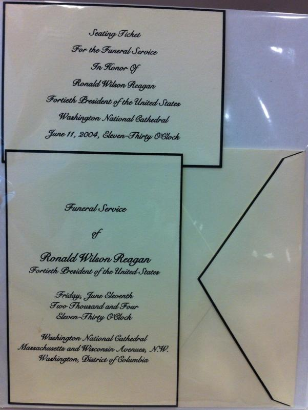 Ronald Reagan Funeral Service Invitation