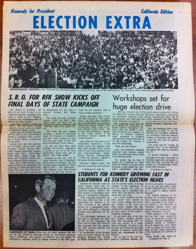 Robert F. Kennedy California Campaign Newspaper