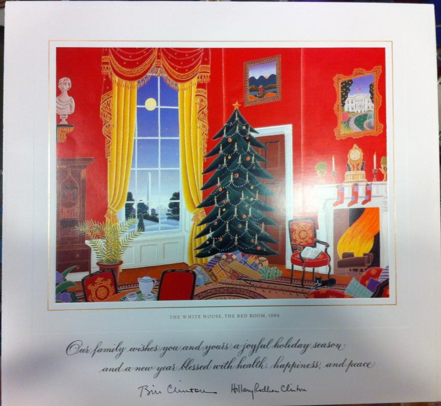 Bill Clinton White House Christmas Gift Print 1994