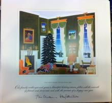Bill Clinton White House Christmas Gift Print 1996