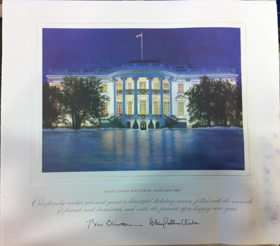 Bill Clinton White House Christmas Gift Print 1997