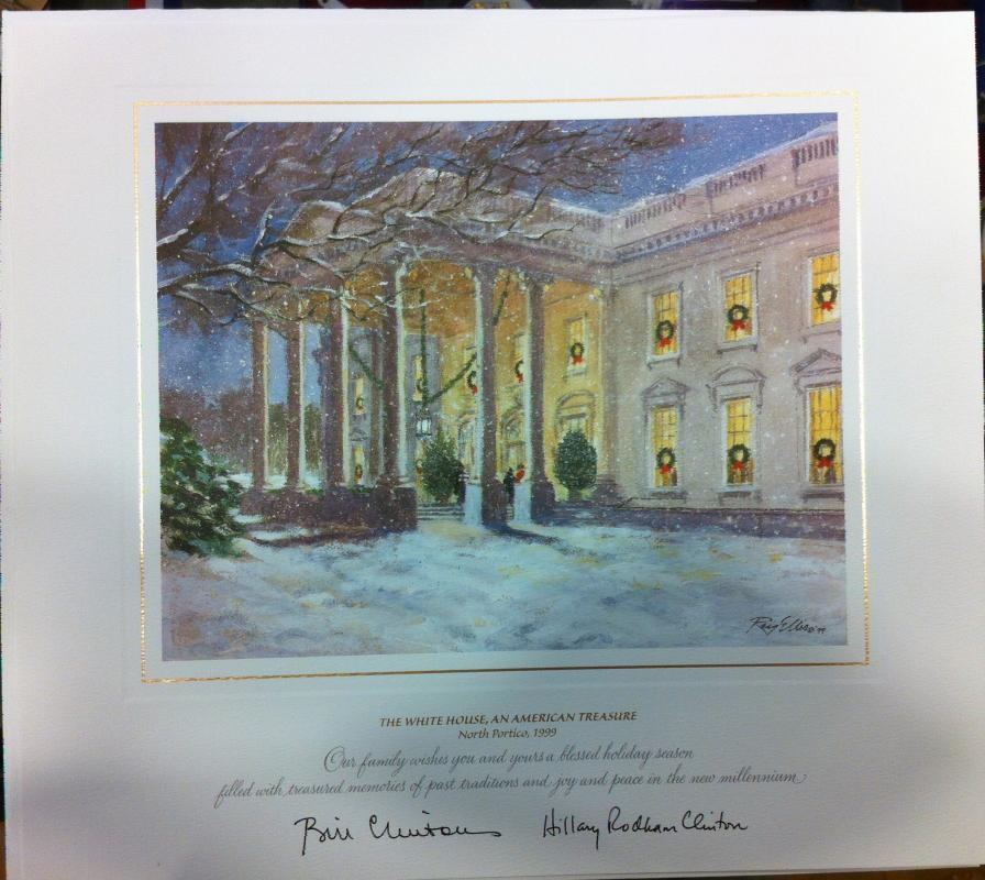 Bill Clinton White House Christmas Gift Print 1999