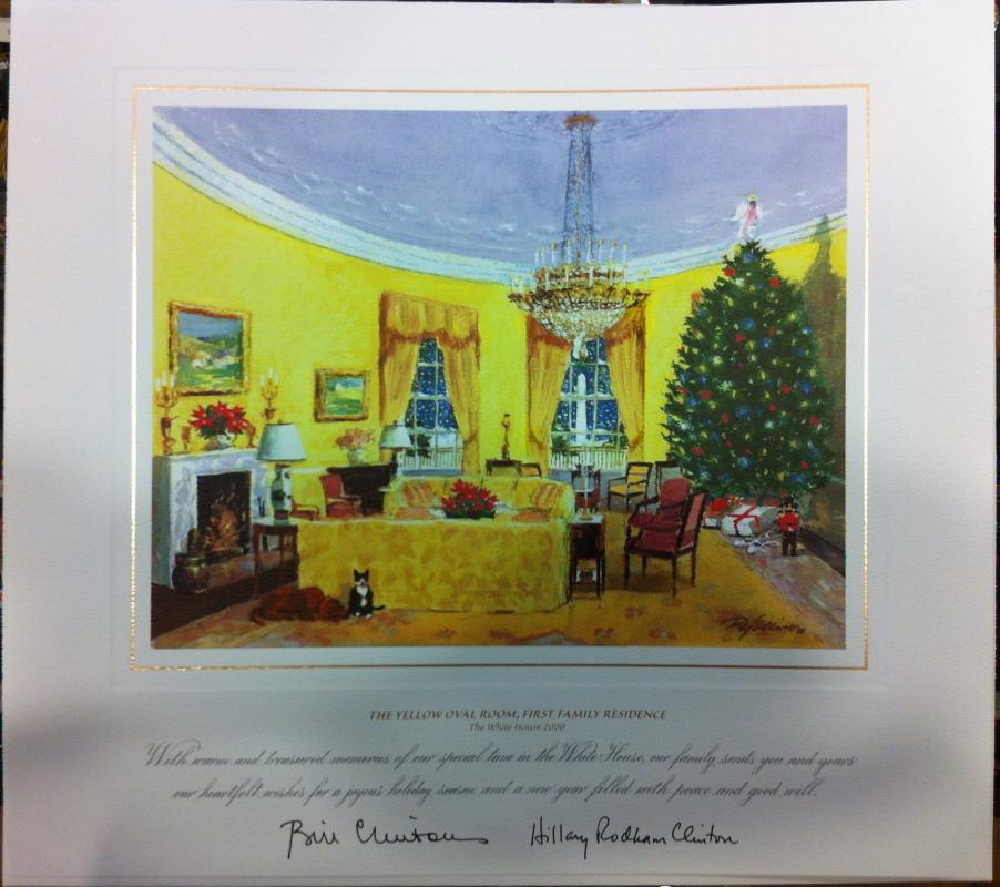 Bill Clinton White House Christmas Gift Print 2000