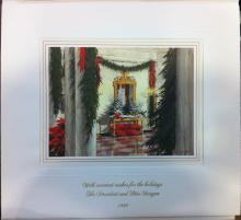 Ronald Reagan White House Christmas Card Gift Print 1988