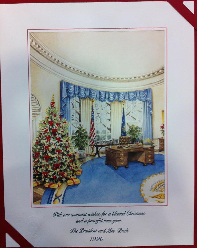 George Bush Sr White House Christmas Gift Print 1990