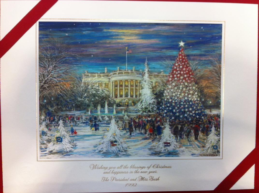 George Bush Sr White House Christmas Gift Print 1992