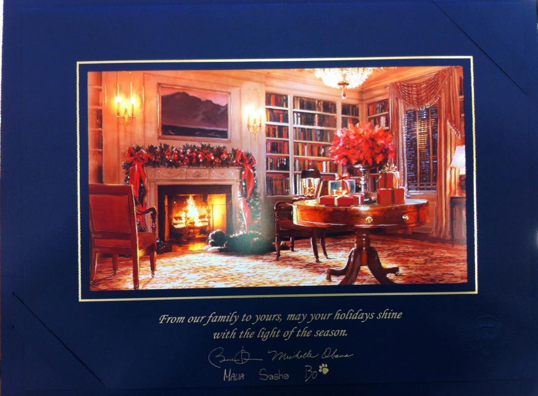 Barack Obama White House Christmas Gift Print 2011