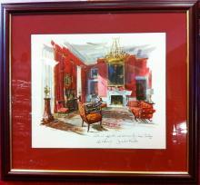 John F. Kennedy White House Christmas Gift Print 1962