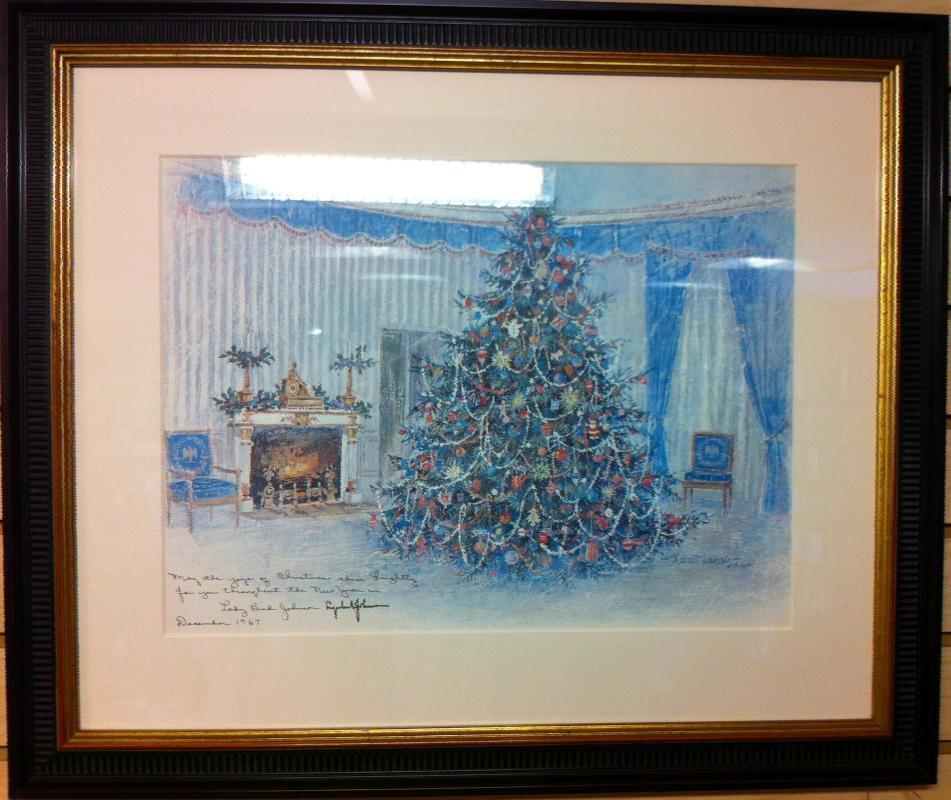 Lyndon B. Johnson White House Christmas Gift Print 1967