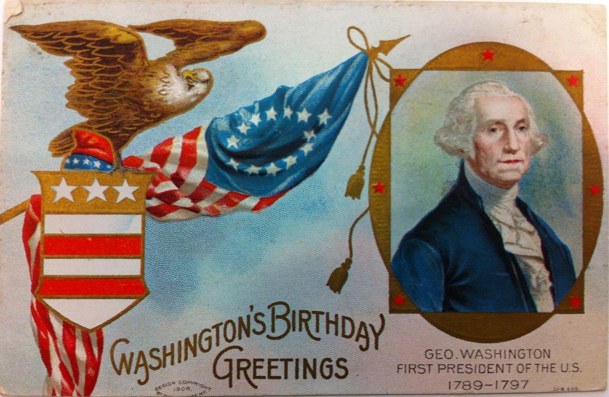George Washington Birthday postcard