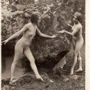 RARE ORIGINAL DECO ERA NUDE FLAPPERS IN WOODSY SETTING, SILVER GELATIN PHOTOGRAPH