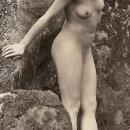 LOVELY DECO ERA NUDE FLAPPERS IN OUTDOOR WOODSY SETTING, SILVER GELATIN PHOTOGRAPH