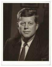 JOHN F. KENNEDY ORIGINAL FABIAN BACHRACH DECKED EDGE SILVER GELATIN PHOTOGRAPH IN ARTISTS CUSTOM PORTFOLIO