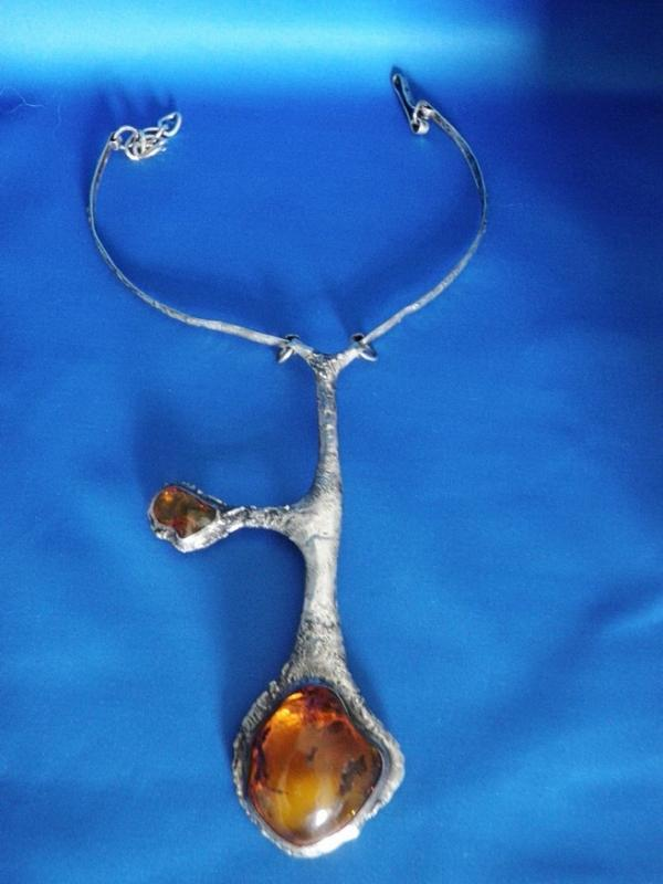 MASSIVE Vintage Necklace AMBER 1960's Designer Baltic Amber and Sterling Silver Neck Piece / Necklace