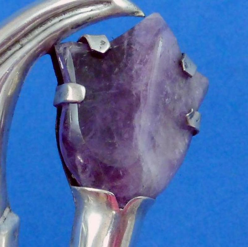 HUGE Taxco Sterling Silver Brooch 1940's Repousse Leaf and Amethyst Flower Brooch Pin