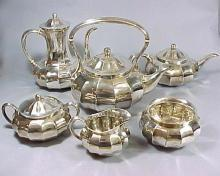 Rare Set of Six (6) Tiffany & Co Art Nouveau 1907 Silver Tea and Coffee Service Set Melon Form
