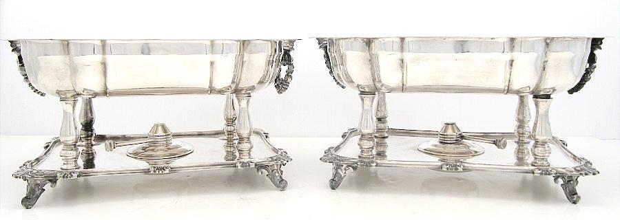Antique English Silver Heated Buffet Servers Serving Dishes Elegant Scalloped, Scroll Work