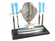 Art Deco English Sterling & Guilloche Enamel Vanity Dresser Set and Swivel Mirror
