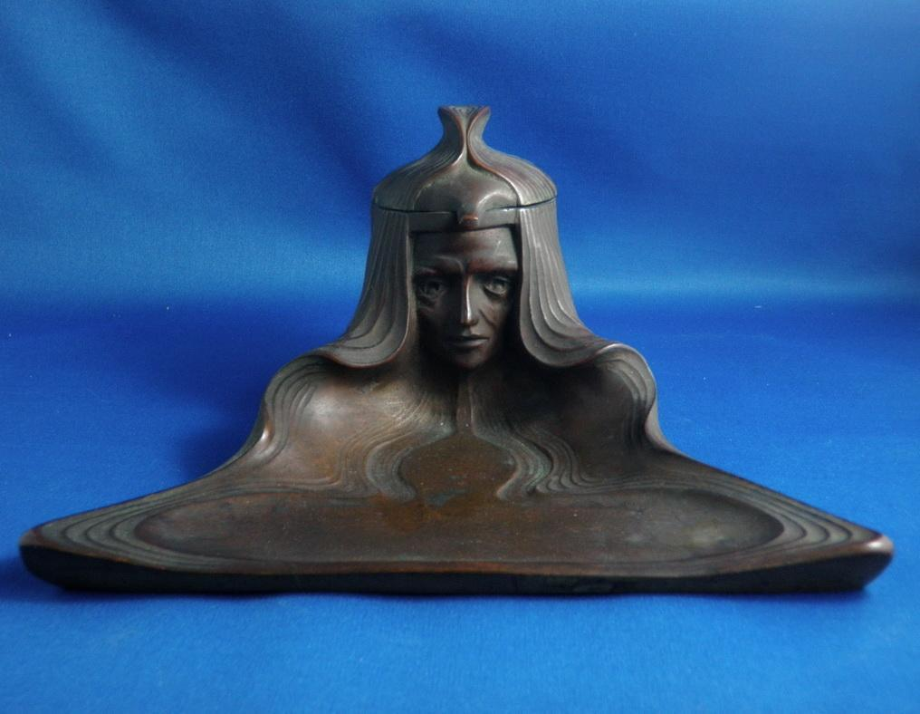 Jugendstill Vienna Bronze Women's Head Inkwell Pen Tray
