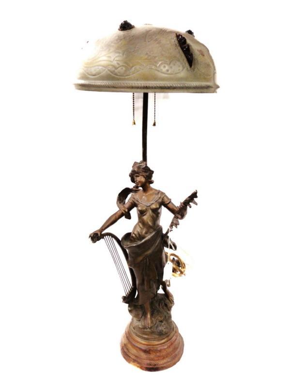 Art Nouveau Parlor Table Lamp Musician Lady Sculpture Hand Tooled Shade Glass Medallions