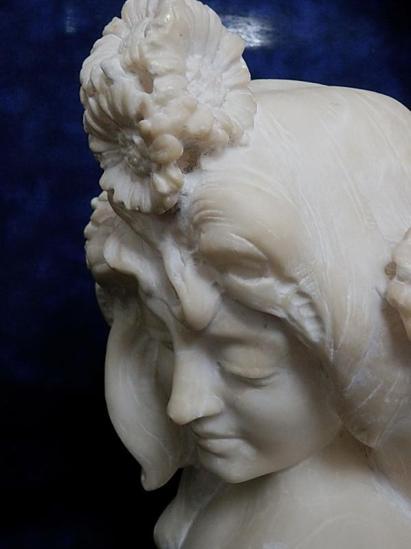 19th Renaissance Marble Bust of Young Lady Mucha Style