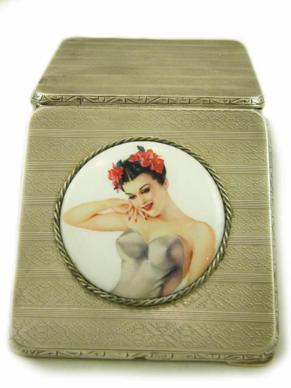 Art Deco Sterling Silver Vargas Girl Porcelain Cigarette Case Holder Halllmarked