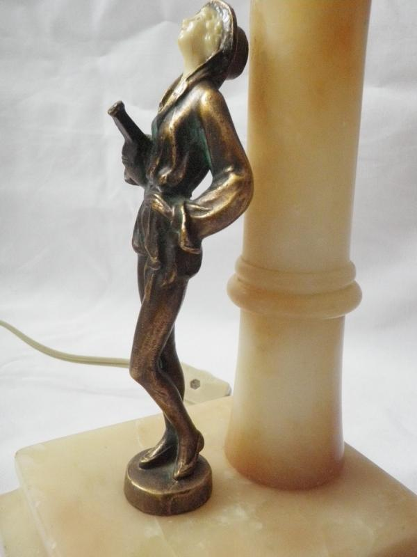 Two (2) Art Deco Nude Flapper Musician Lady Alabster, Metal Domed Shade