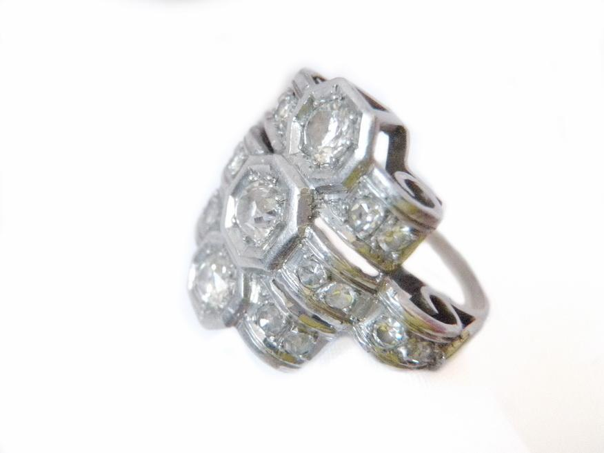 High Art Deco Custom Ring Platinum and Euro Cut Diamonds